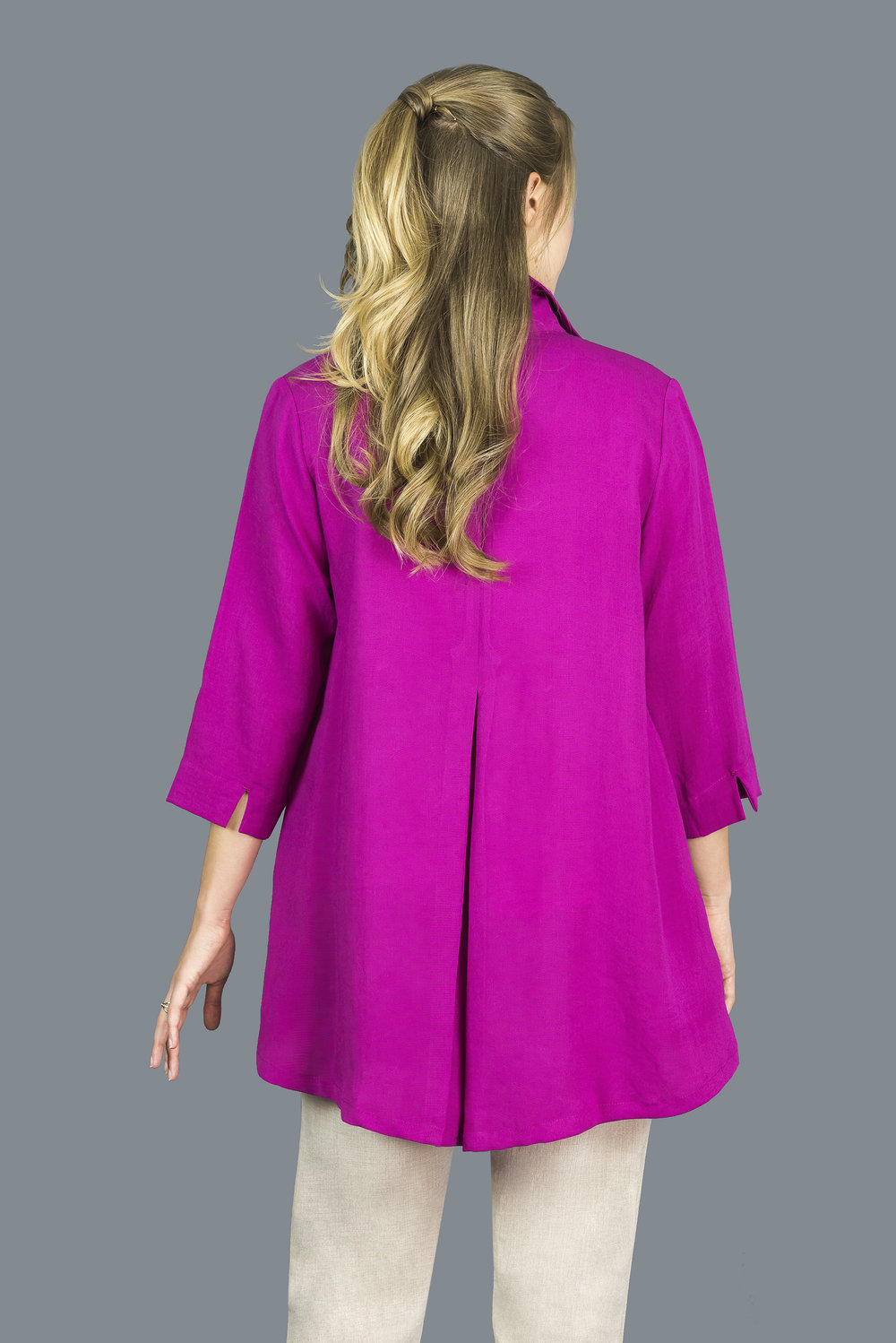 AA183 - Long Coconut Button Swing Jacket    CL3552 - Magenta