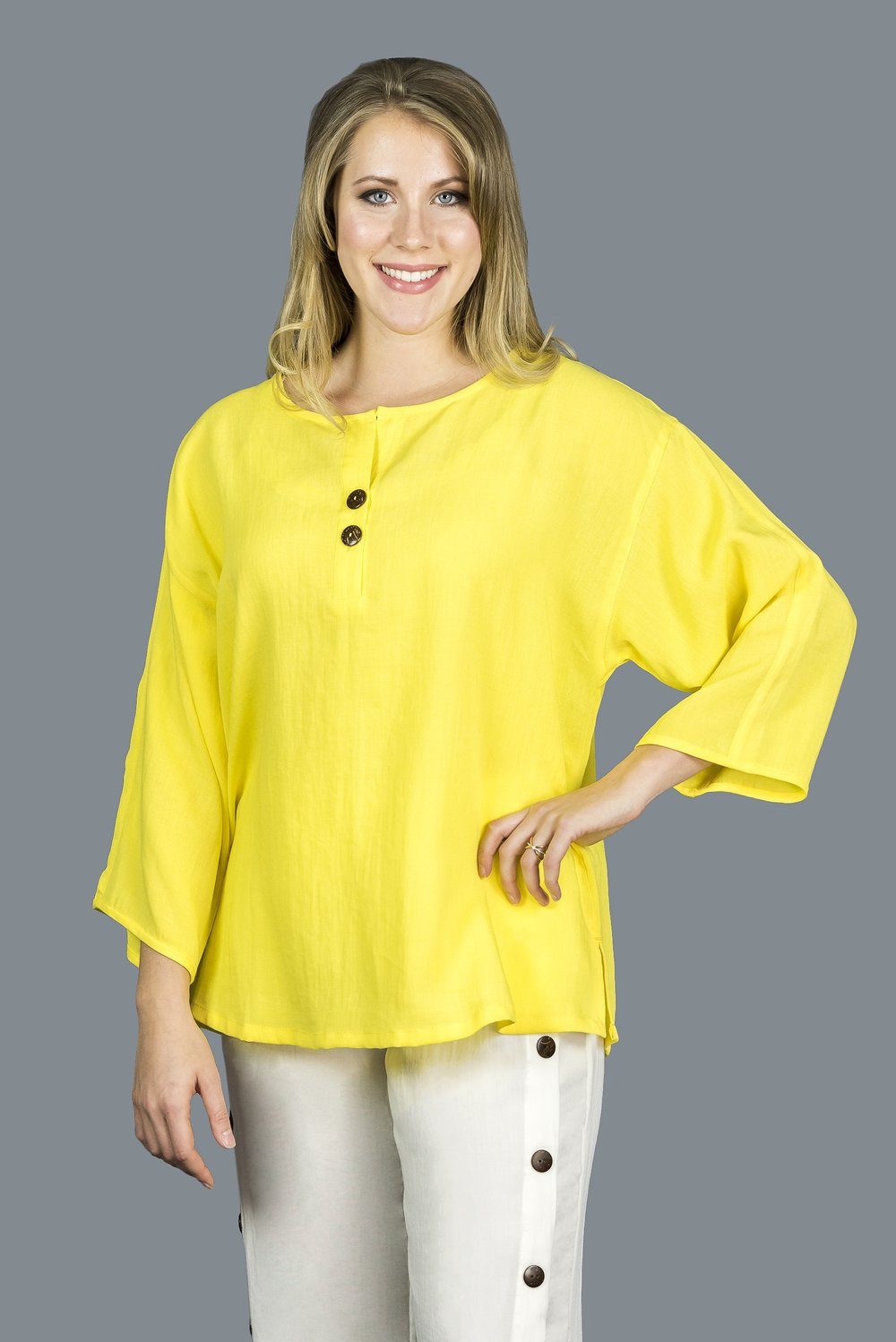 AA216 - Coconut Button Pullover    CL3981 - Daffodil
