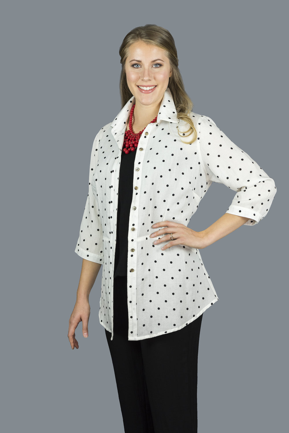 AA138 - Connie's Shirt    CL388D - White with Black Polka Dots
