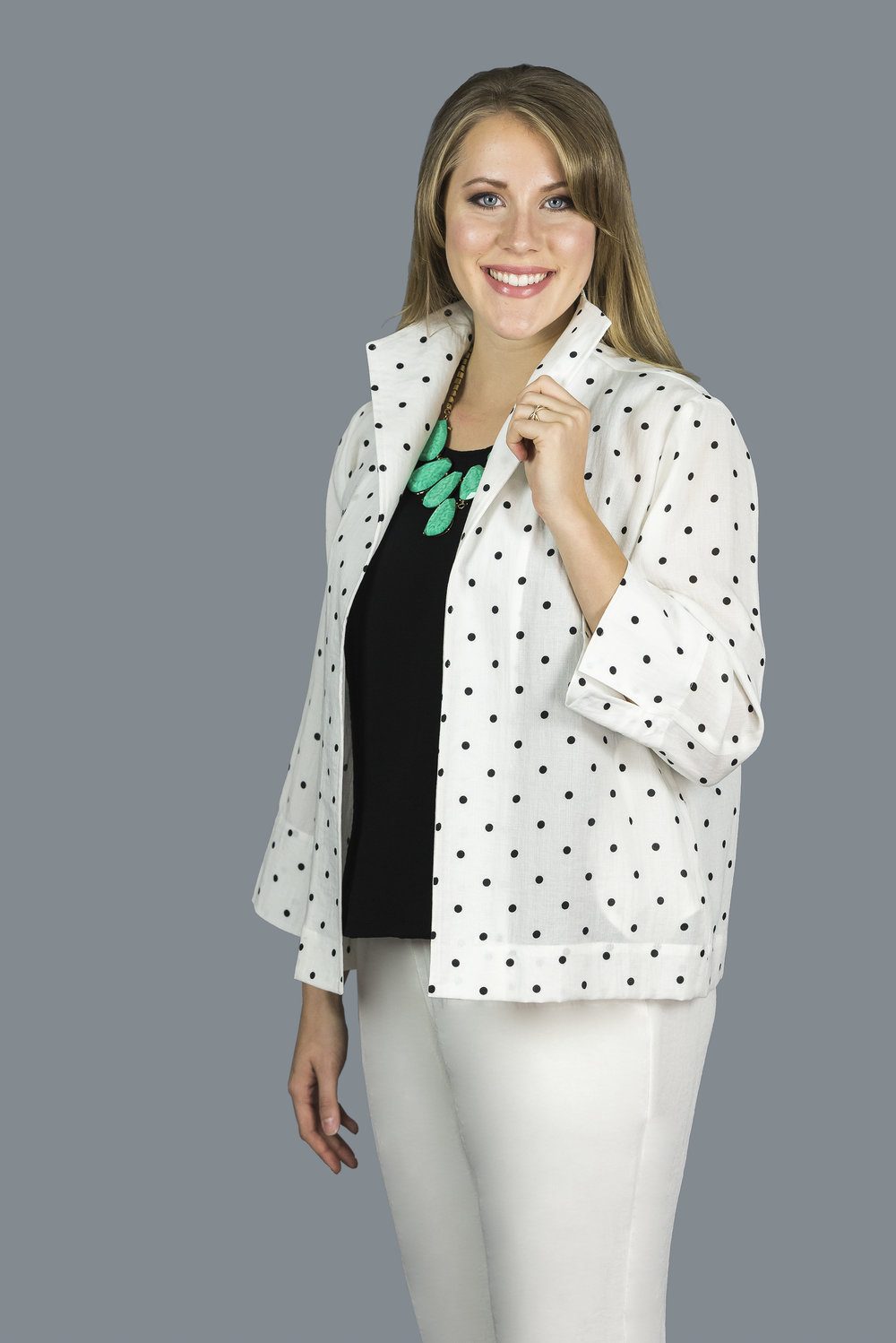 AA198 - Pamela Jacket    CL388D - White with Black Polka Dots