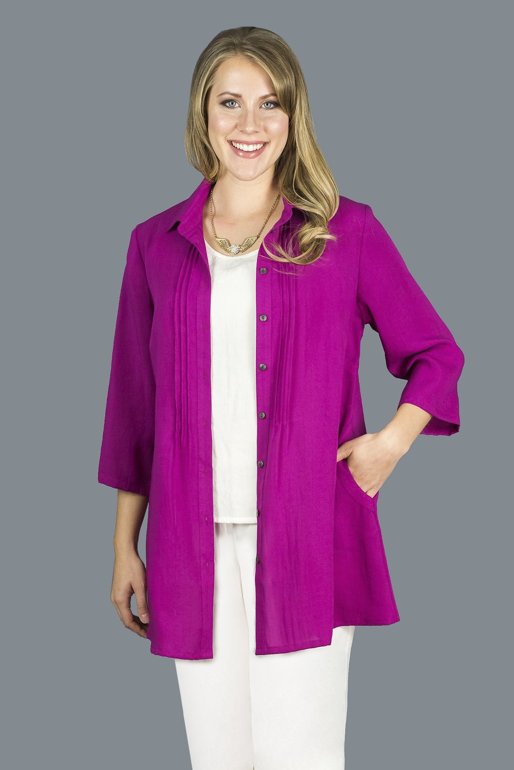 AA206 - Front/Back Pleat Tunic    CL3552 - Magenta