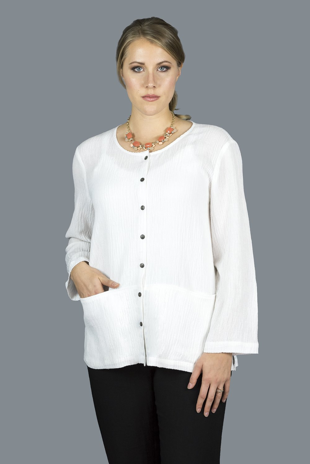 AA215 - Two Pocket Button Up (Textured Linen Only)    TX10 - Textured White