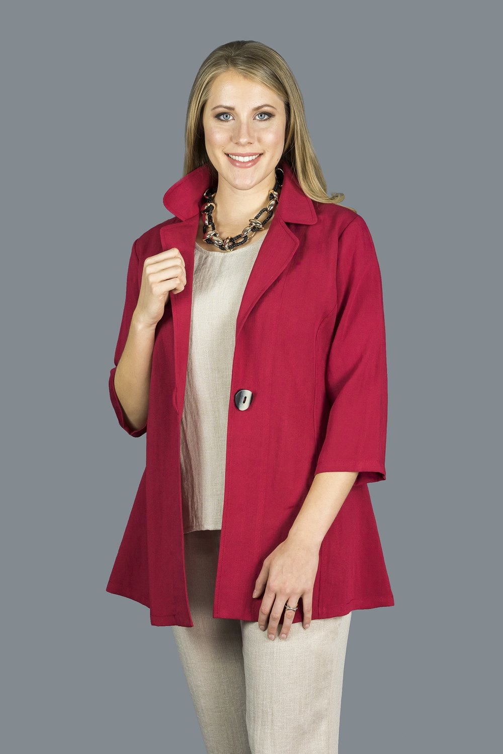 AA150 - One Button Long Jacket    CL7754 - Ruby