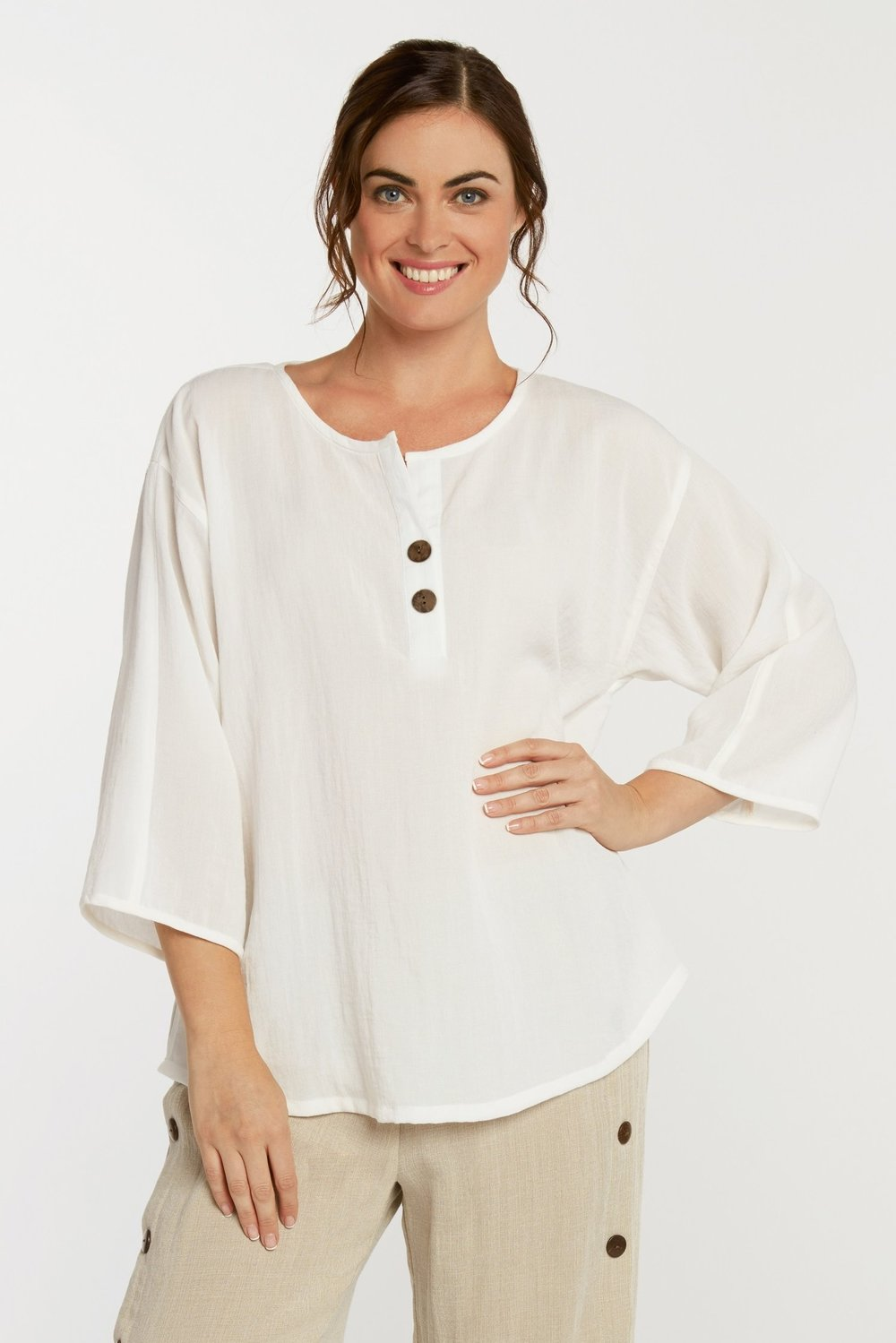 AA216 - Coconut Button Pullover    CL384 - White