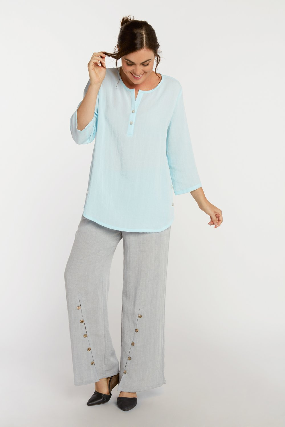 AA205 - Side Button Pullover    Seaglass - CL4690