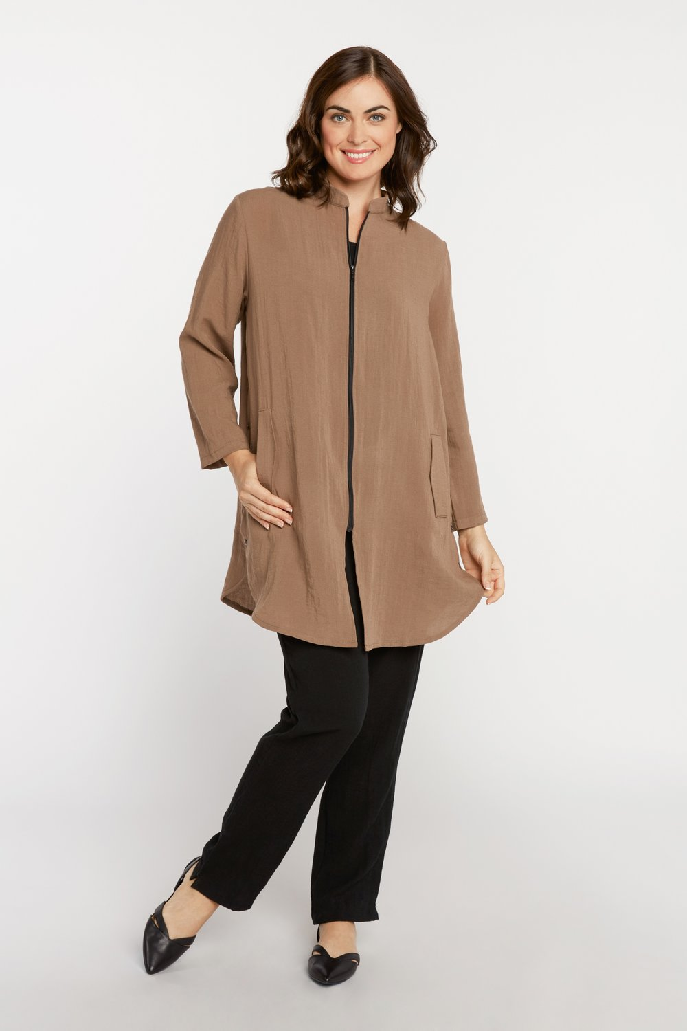 AA218 - Side Button Zippered Tunic    Milk Chocolate - CL8625