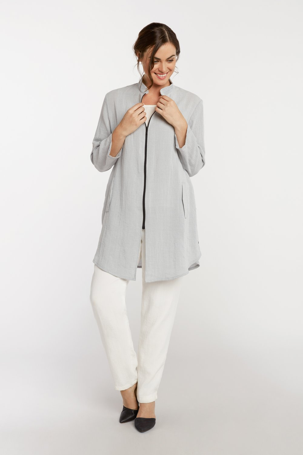 AA218 - Side Button Zippered Tunic    Pebble - CL9288