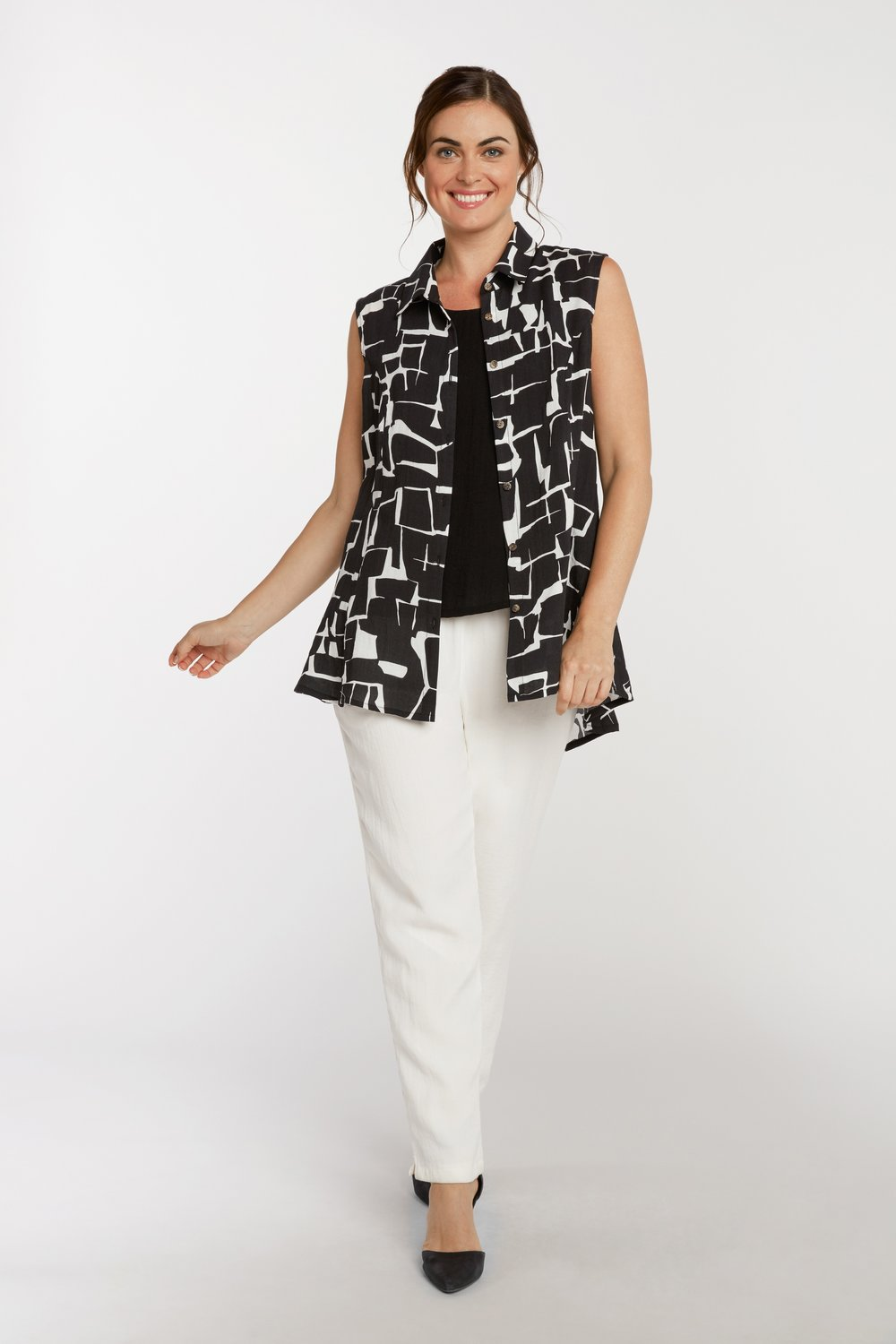AA223 - Betty Button-Up Vest    Crackle - CL9238