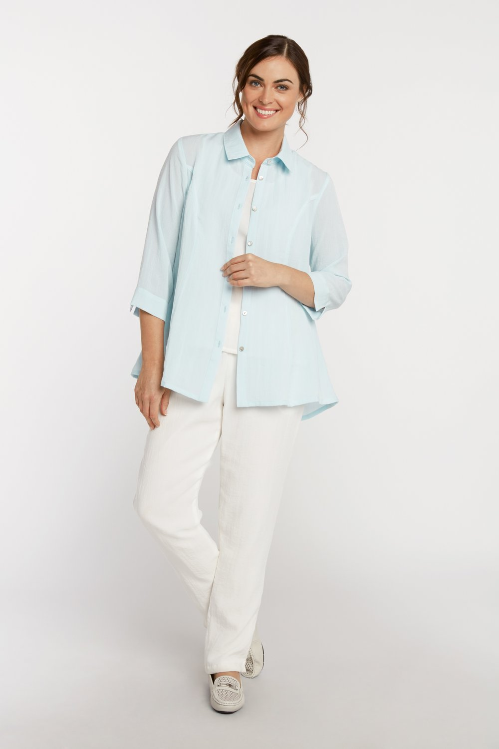 AA224 - Veronica Button-Up Blouse    Seaglass - CL4690