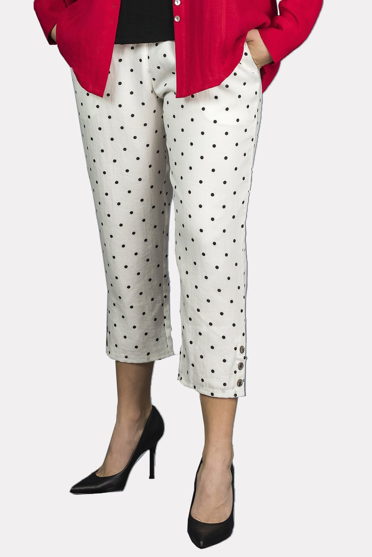 AAPT15 -Crop Pant with Button Details    CL388D -   White w/ Black Dots