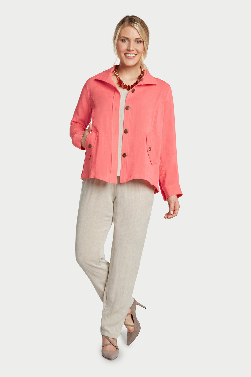 AA242 - Florence False-Flap Pocket Jacket    Papaya - CL4385