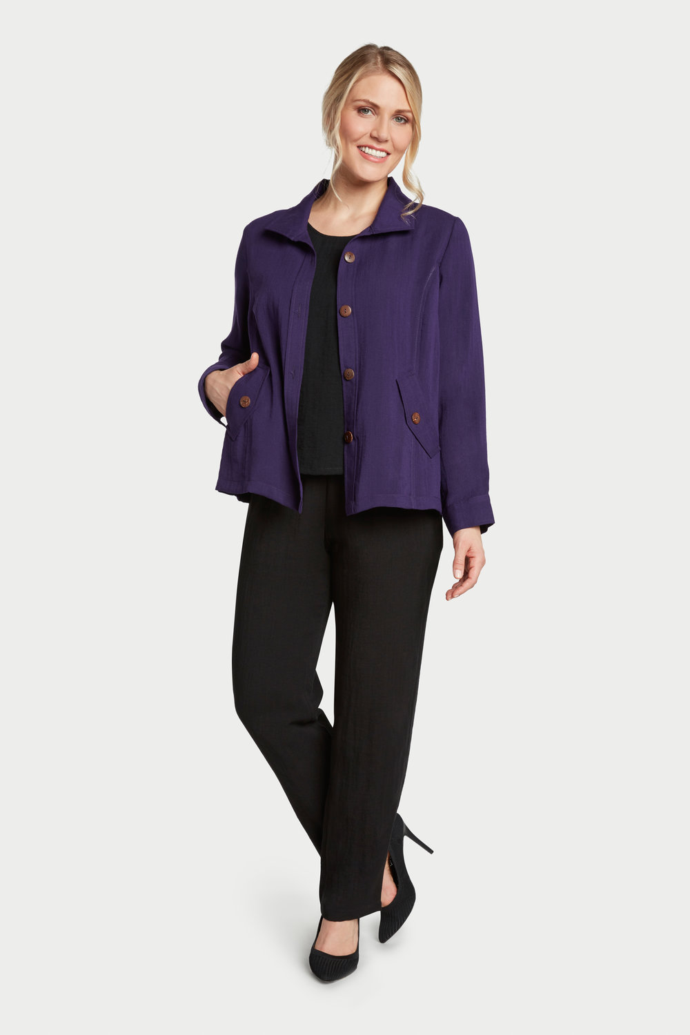 AA242 - Florence False-Flap Pocket Jacket    Plum - CL4385