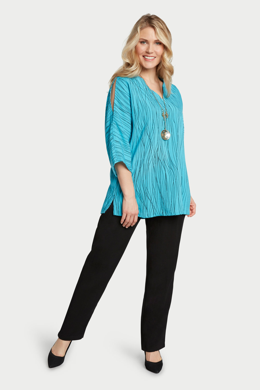 AA254 - Peek-a-Boo Sleeves Pullover    Caribbean Waves - CL2567W