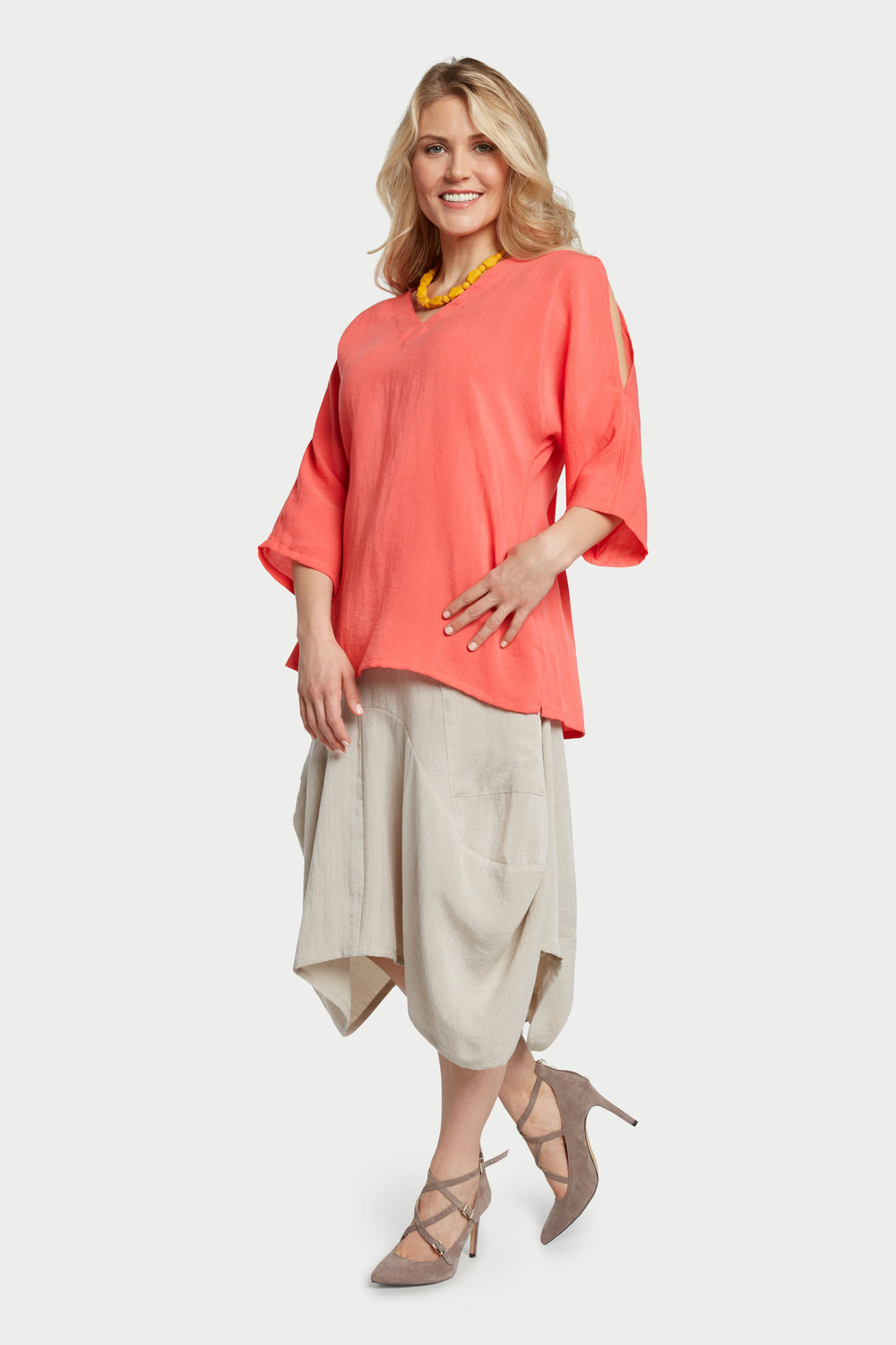AA254 - Peek-a-Boo Sleeves Pullover    Papaya - CL4385