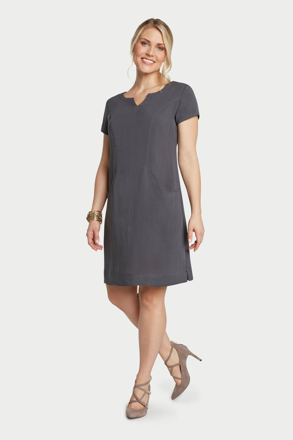 AAD260 - V-Neck Dress    Charcoal - CL4394