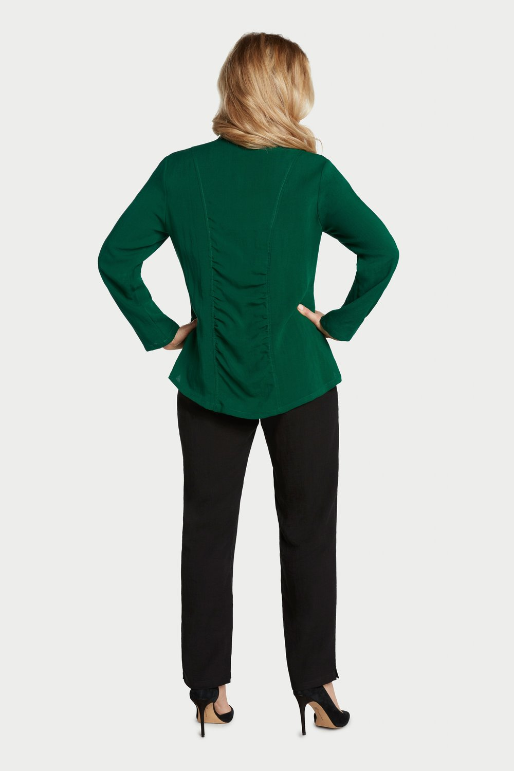 AA237 - Ruched Zip Jacket    Pine - CL4393