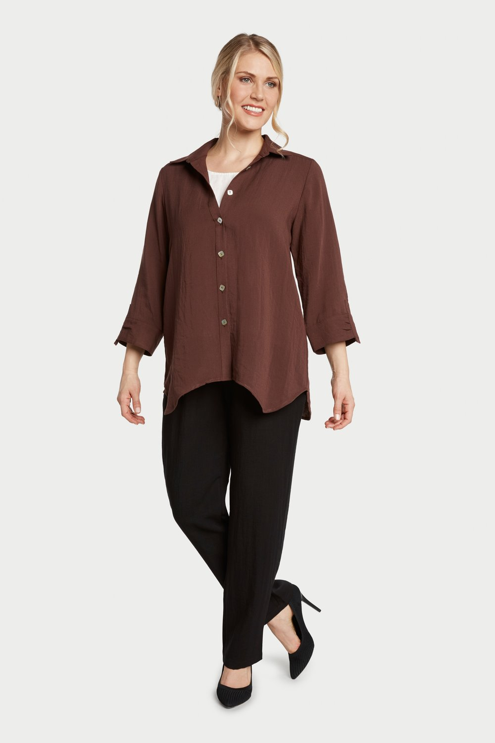 AA261 - Diamond Button-Up Shirt    Espresso - CL2407