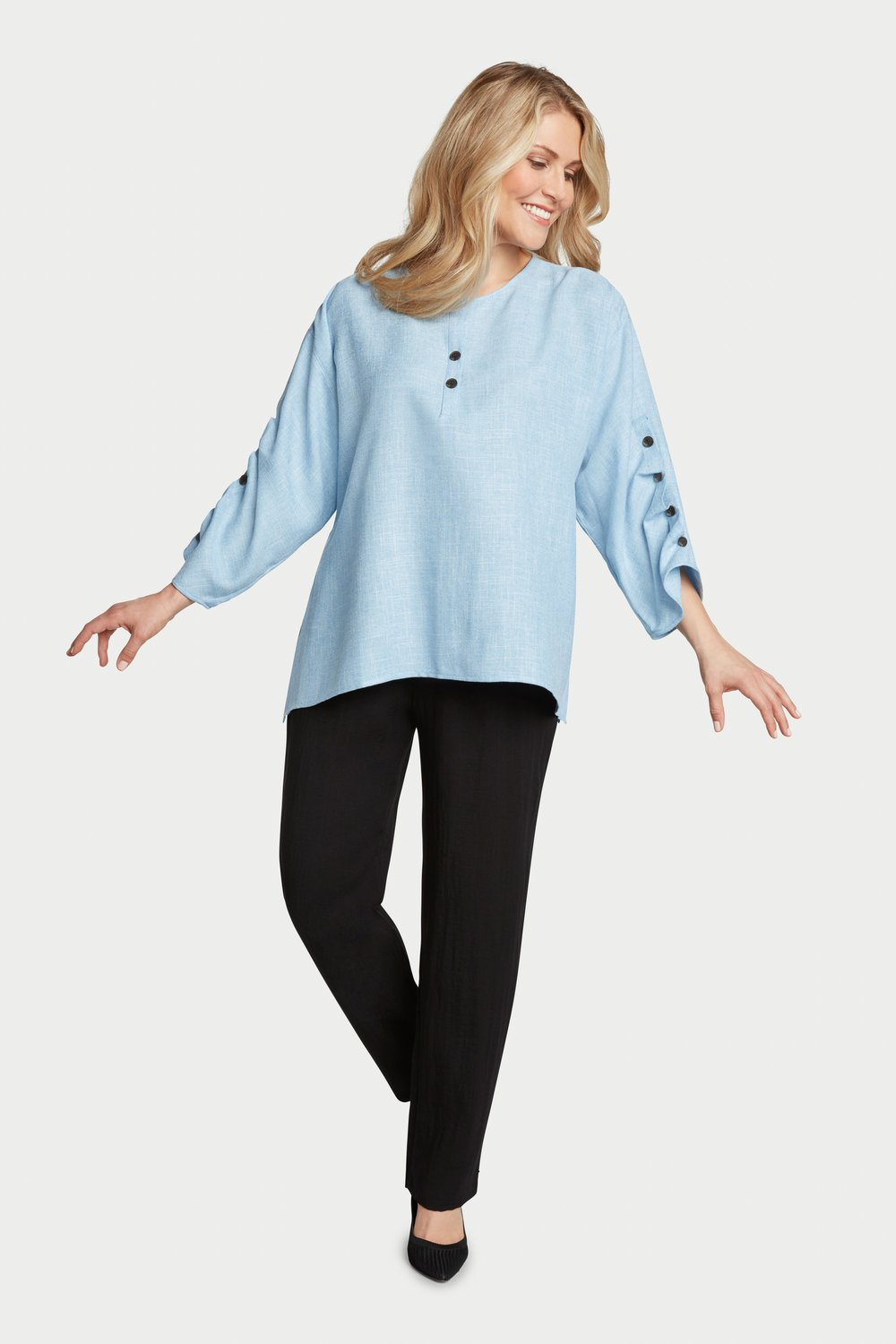 AA7036 - Ripple Tide Henley Pullover    Light Blue/White Heathered - JC06