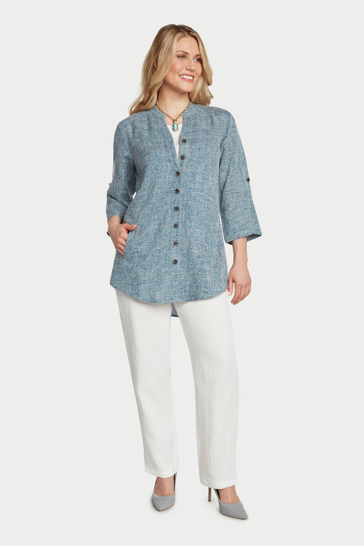 AA7125 - Annie's Shirt    Teal/White Heathered - JC24