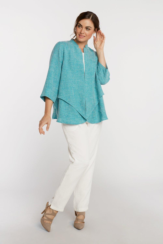 AA7137 - Waterfall Jacket    Turquoise/White Heathered - JC15