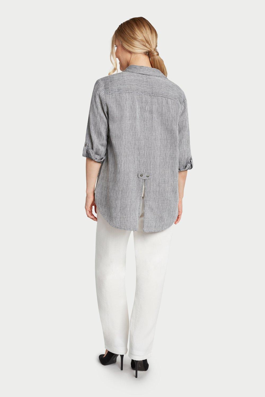 AA7161 - Short Tuxedo Tails Blouse    Black/White Stripes - ST05