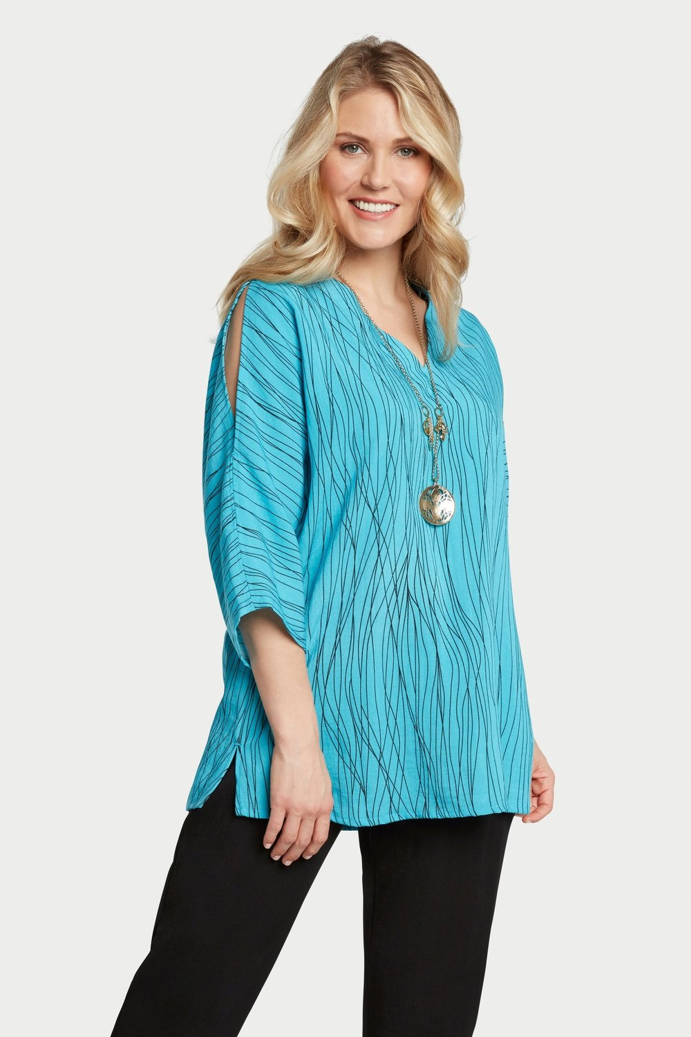 AA254 - Peek-a-boo Sleeves Pullover    CL2567W - Caribbean Waves