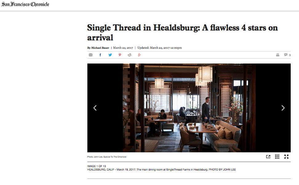 Single Thread in Healdsburg: A flawless 4 stars on arrival - San Francisco Chronicle. Restaurant Critic Michael Bauer.