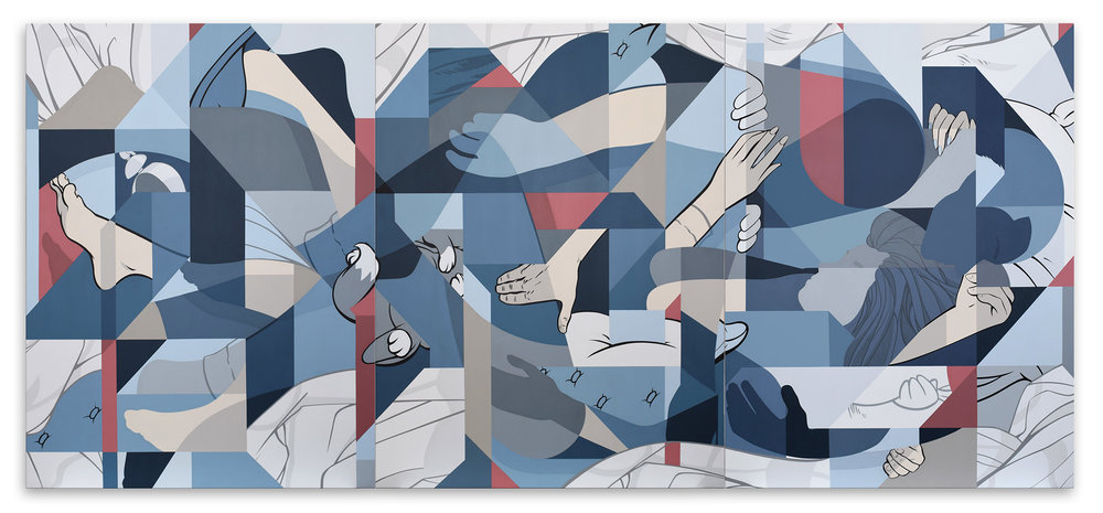 """Back In Bed"" 274cm x 122cm (9ft. x 4ft.) Acrylic painting on canvas triptych. 2019."