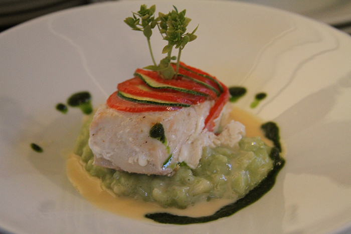 Zucchini and Tomato Scaled Sea Bass over Basil Risotto