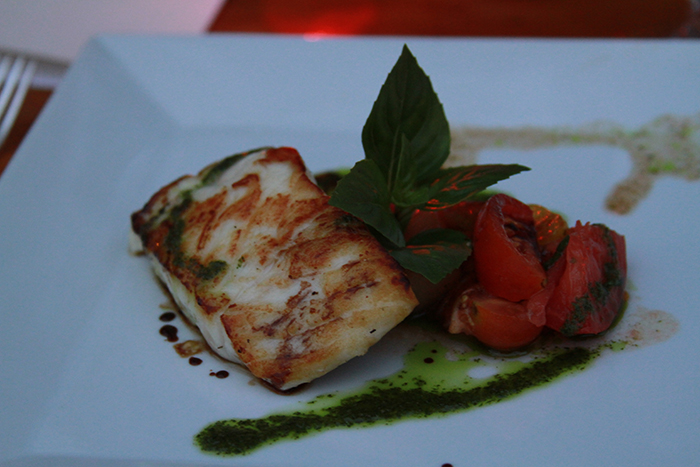 Pan Seared Halibut with Oven Roasted Tomatoes and Basil Oil