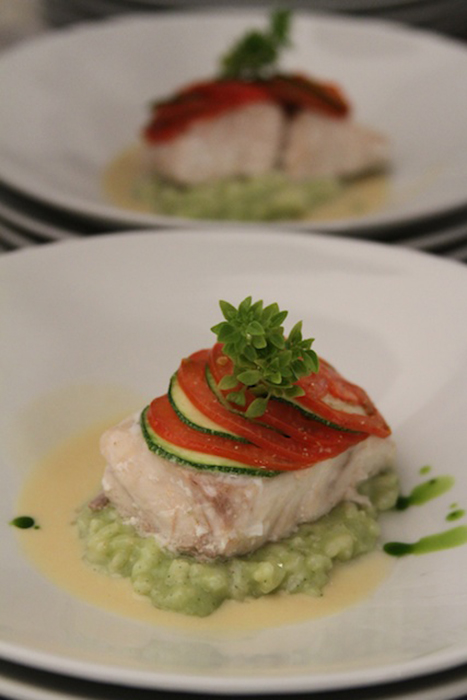 Tomato and Zuchinni Scaled Sea Bass over Basil Risotto