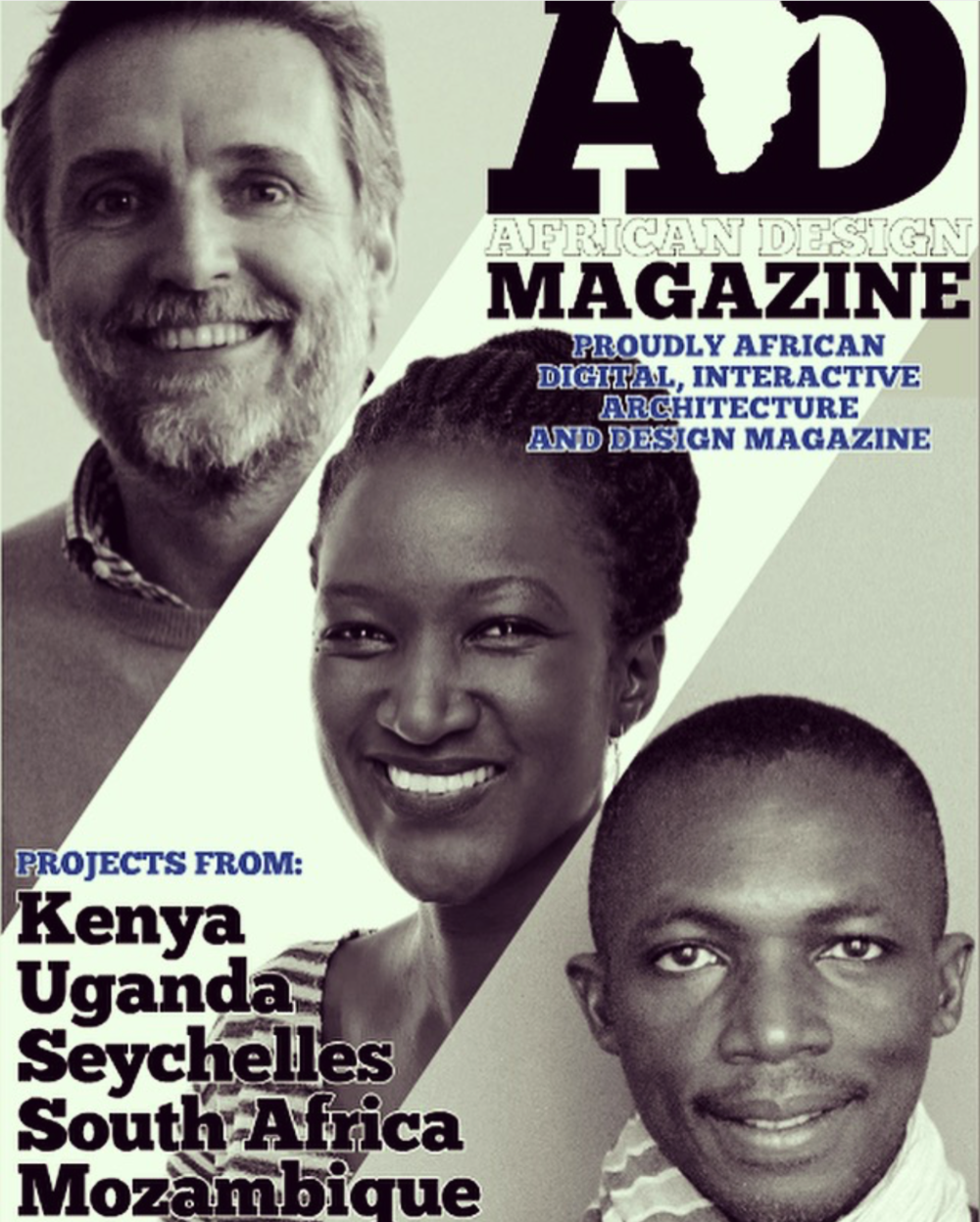 Urko Sanches,  Doreen Adengo , and Issa Diabate on the cover of the African Design Magazine.