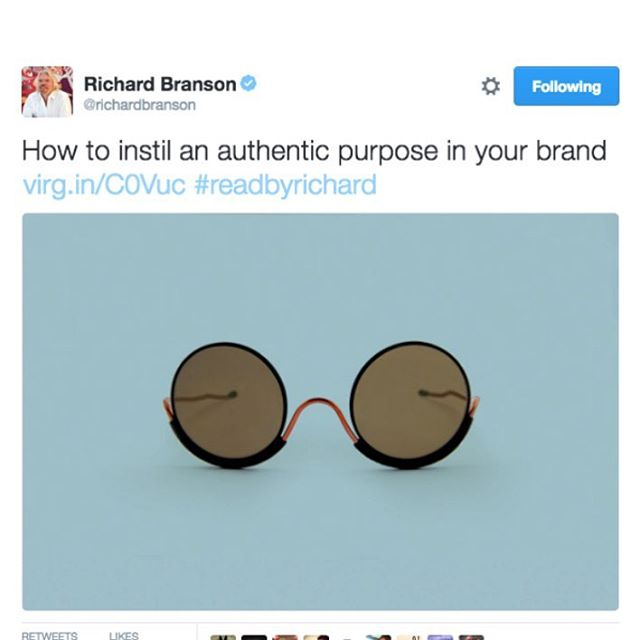 A tweet of motivation to our @wiresglasses from @richardbranson