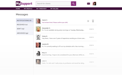 The MySupport direct messaging system.