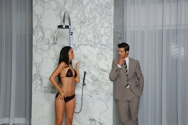 Robin Thicke on the set of one of his recent music videos