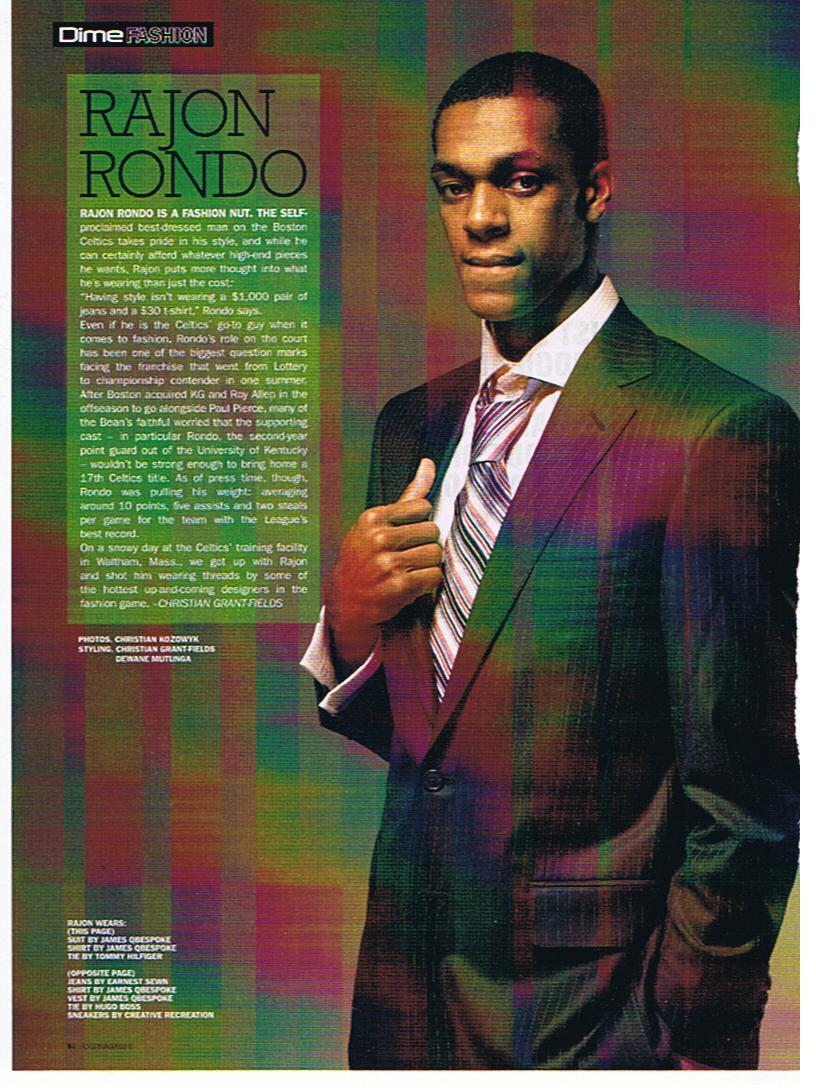 NBA Champion Rajon Rondo of the Boston Celtics in Dime Magazine