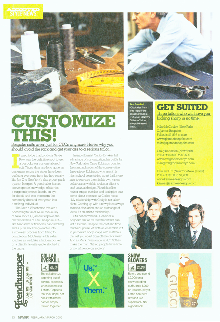 Complex Magazine feature on Bespoke Suits