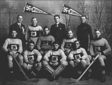 Presenting the 1912 Canadian ice hockey championship team, the Windsor Swastikas.  The swastika used to be a symbol of peace and luck before ze Germans looked at it cross-eyed.