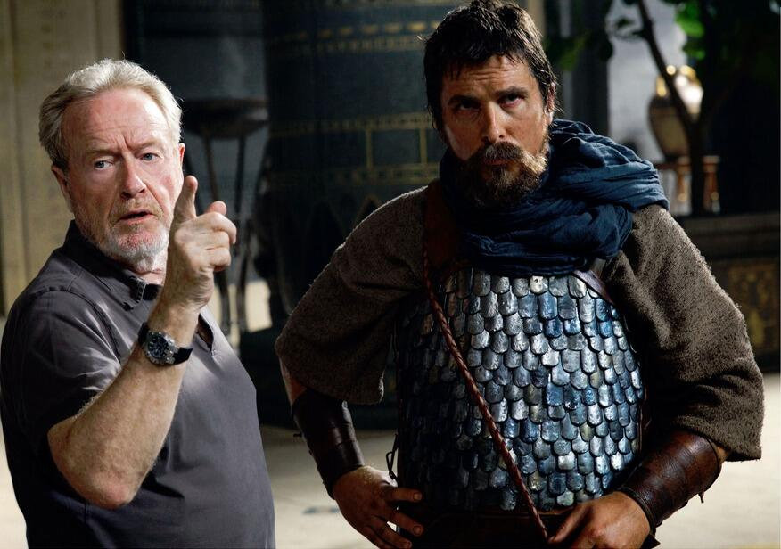 """Ridley Scott directing Christian Bale as Moses, who apparently is a forgotten extra from Scott's own dark retelling of """"Robin Hood""""."""