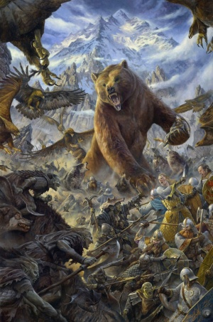 "The shape-shifter Beorn at the ""Battle of the Five Armies"".  He's essentially the equivalent of Aragorn's Army of the Dead in that he just decimates everything in his path like a character in a video game powered by a ""God mode"" cheat code."