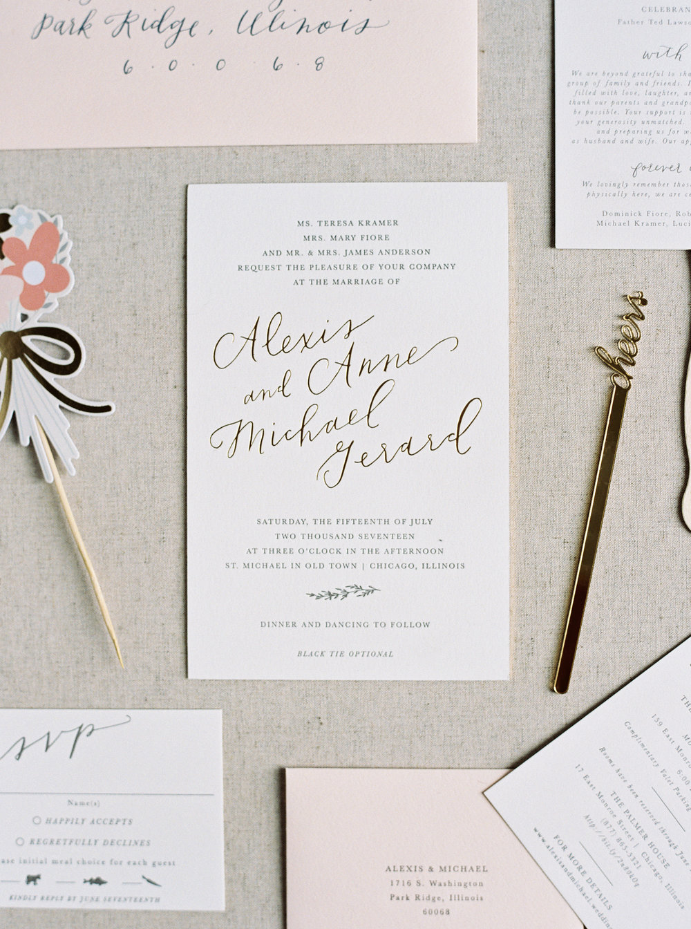 feminine gold foil blush and seed paper | chicago