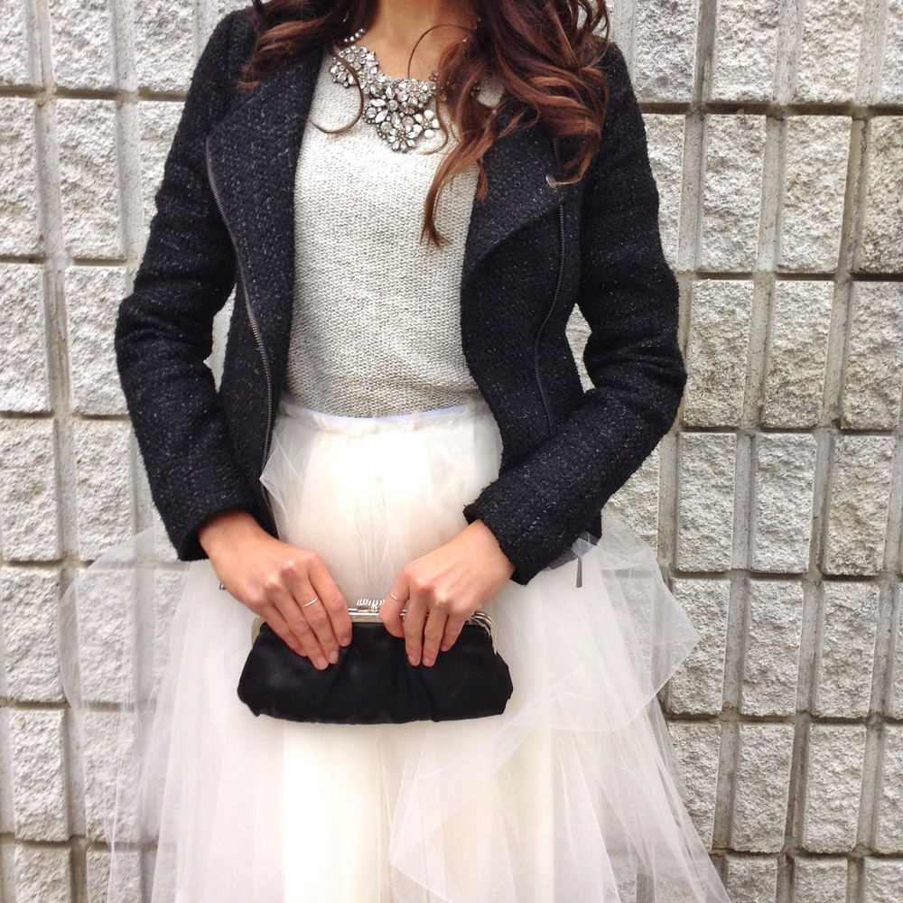 | Black Swan |   knit sweater: joefresh / statement necklace: etsy / black tweed jacket: forever21 / clutch: the shoe company / shoes: BCBGeneration / skirt: @saraashleyhome #diy