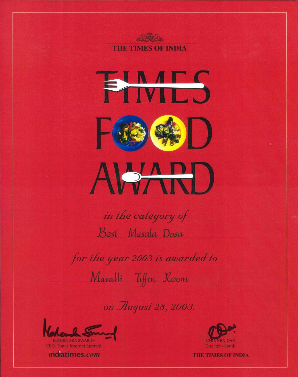 Times FA - Best Masala Dosa - 2003.jpg