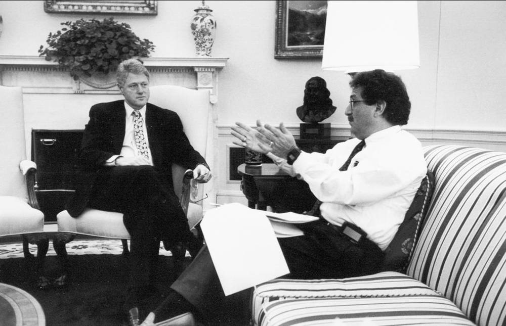Stan Greenberg with Bill Clinton at the White House in the 1990s.