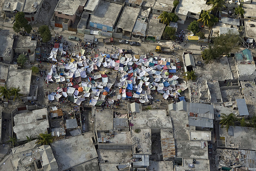 Impromptu tent cities in Haiti after the 2010 earthquake.
