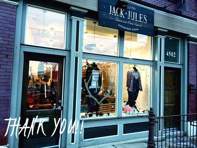 Jack + Jules will be closing up for good at the end of Feb, and will be holding a HUGE sale starting next Wednesday, January 20th!  In an effort to clear out our inventory, we will be striking prices every week until we shut our doors - EVERYTHING MUST GO! But don't wait too long, or your sizes will be gone.  It's been a great three years here on Butler Street, I'd like to personally to take the time to thank you for being a loyal customer. If you have any questions or comments regarding the sale or the business closure, please feel free to contact us: info@jackjulespgh.com.  #sale #smallbusiness #pittsburgh #lawrenceville