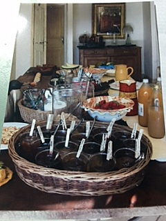 Photo of the breakfast table in Provence, don' you love the name tags on the jellies?