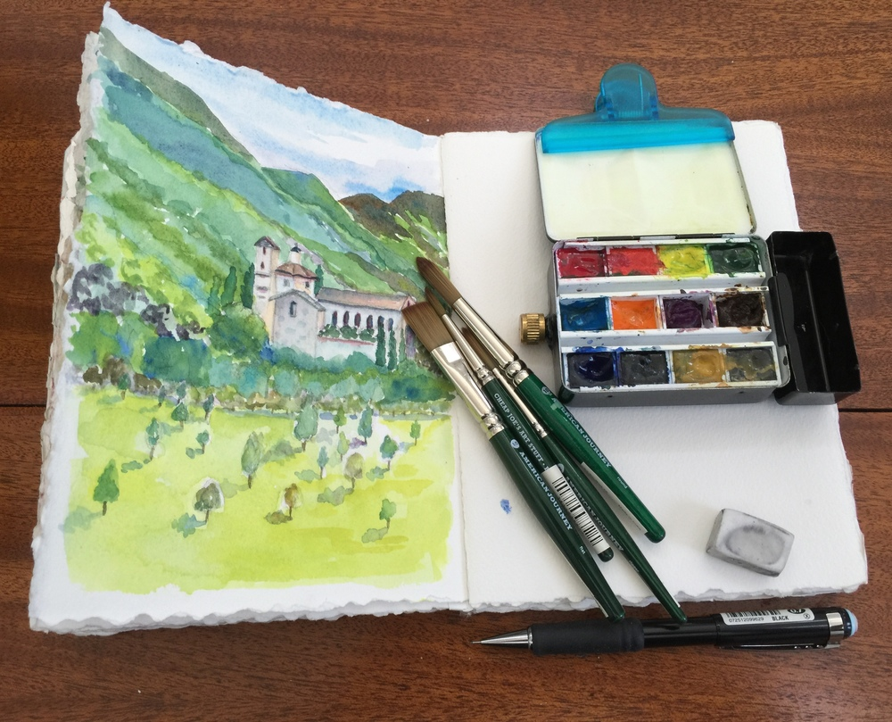 I clipped the paintbox to my sketchbook with a clip I bought in Tuscany because Charlotte had one.