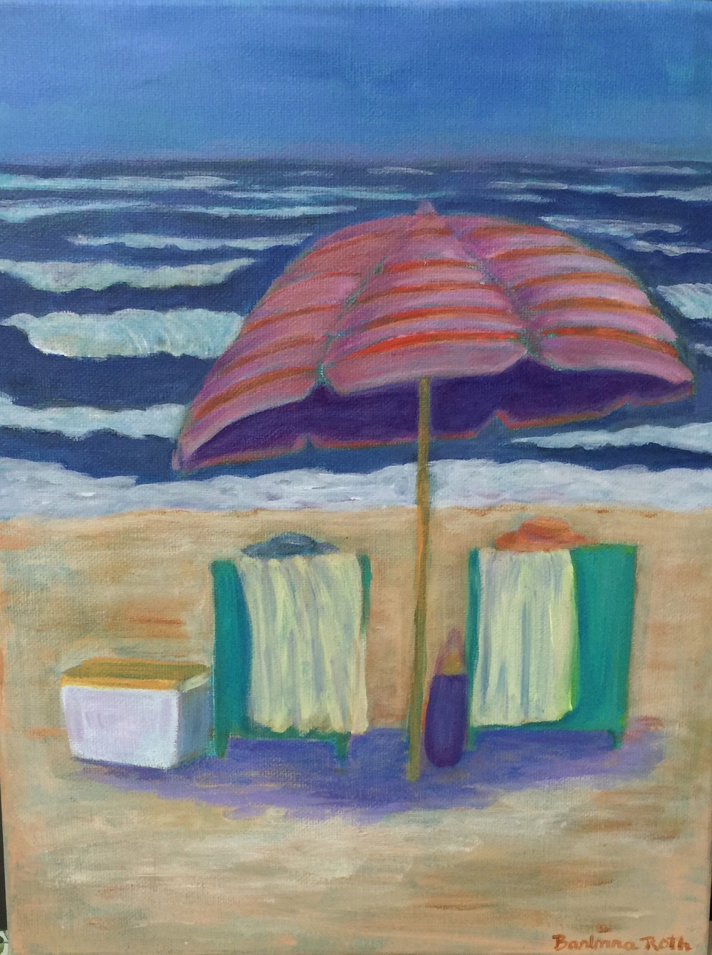 Under the Pink Striped Umbrella . Acrylic painting by Barbara Roth