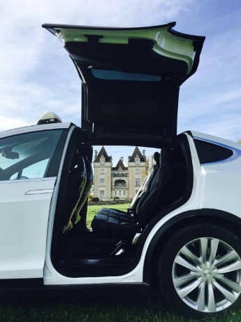 Christoph's Tesla and the castle thru the doors.jpg
